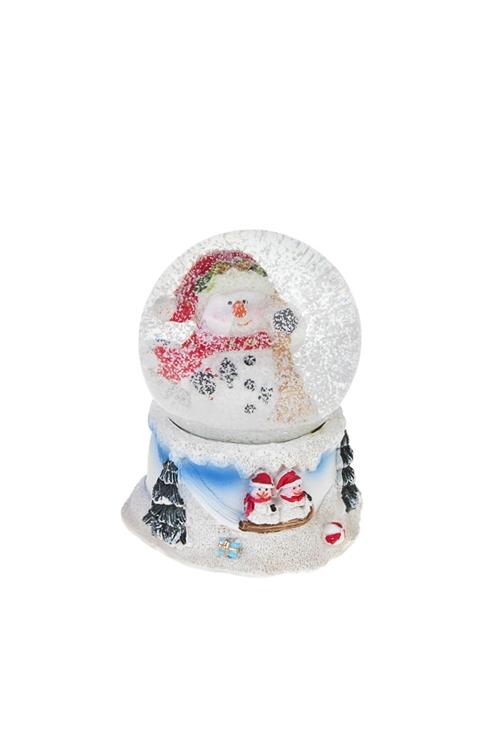 Шар со снегом Счастливый снеговичокНовогодние сувениры<br>Выс=9см, полирезин, стекло<br>
