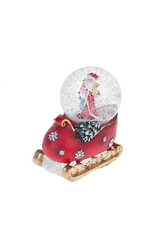 Шар со снегом Дед Мороз на саняхФигурки<br>Выс=11см, полирезин, стекло<br>