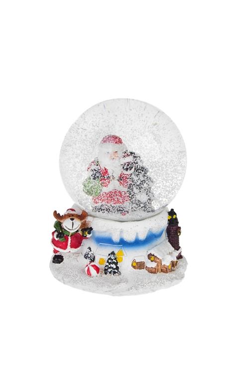 """Шар со снегом """"Дед Мороз с елочкой и подарками"""""""
