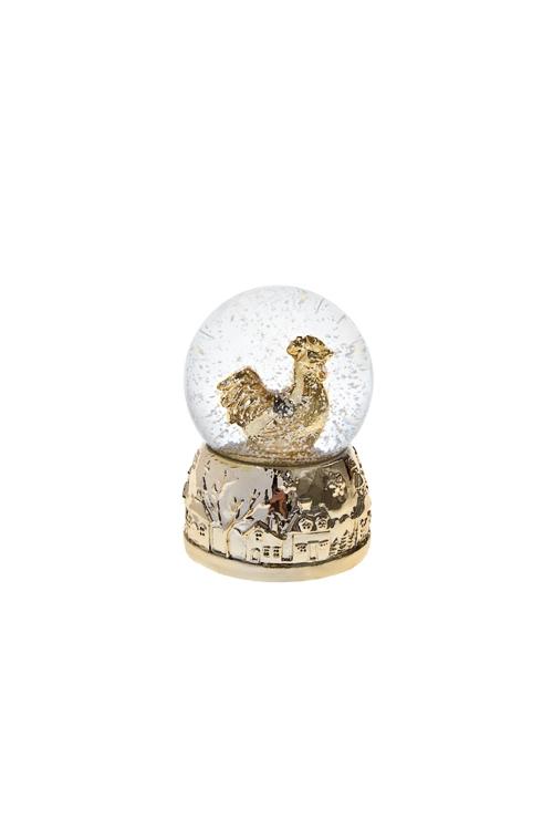 Шар со снегом Золотой петухФигурки<br>Выс=6.5см, полирезин, стекло, золот.<br>