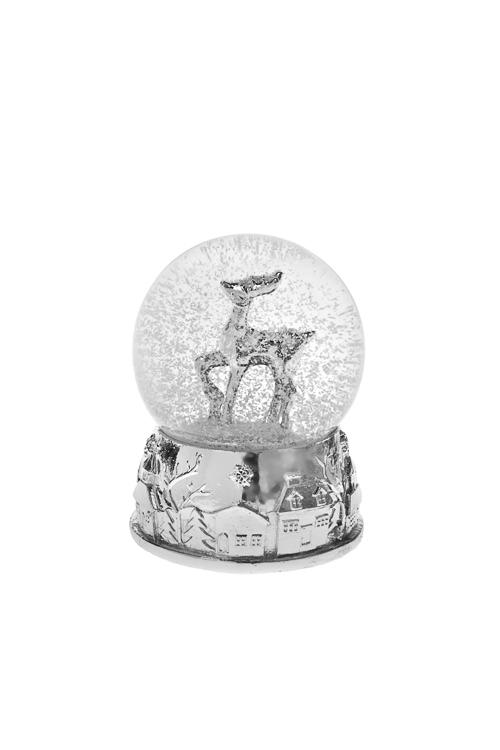 Шар со снегом Серебряный оленьФигурки<br>Выс=9см, полирезин, стекло, серебр.<br>
