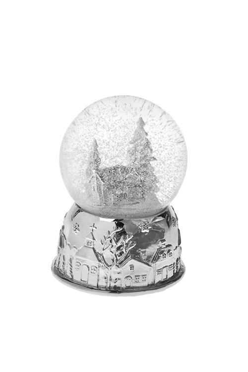 Шар со снегом Ледяной домик в лесуНовогодние сувениры<br>Выс=12см, полирезин, стекло, бело-серебр.<br>
