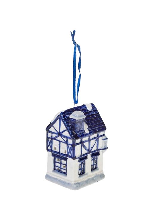 Украшение для интерьера светящееся ДомикЕлочные игрушки<br>6*5*9см, керам., бело-синее (2 вида), на батар.<br>