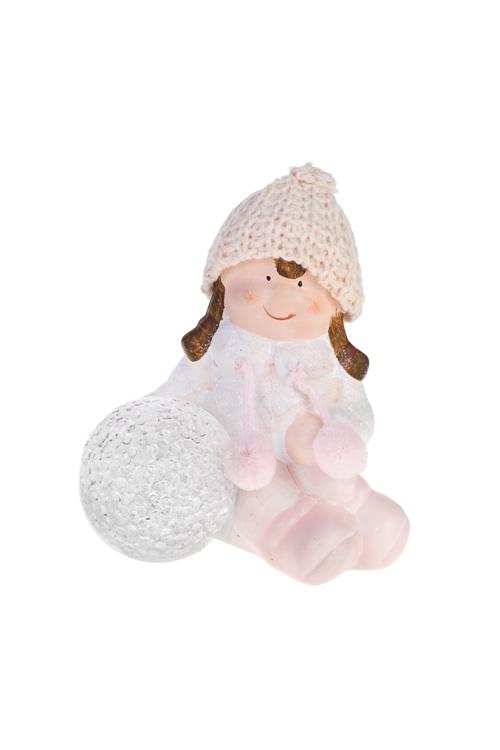 Украшение для интерьера светящееся МалышкаСветящиеся украшения<br>Выс=14см, керам., текстиль, розовое (2 вида), на батар.<br>