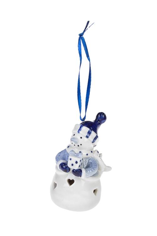Украшение новогоднее светящееся СнеговикЕлочные игрушки<br>Выс=7.5см, керам., бело-синее (3 вида), на батар.<br>