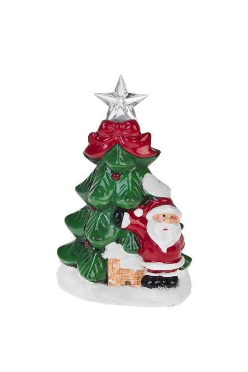 Украшение новогоднее светящееся Праздничная елкаРазвлечения и вечеринки<br>Выс=14.5см, керам. (2 вида), на батар.<br>