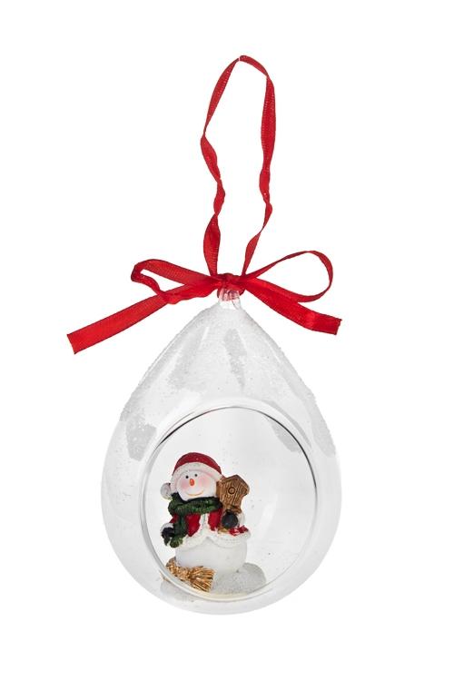 Украшение новогоднее Веселый снеговикЕлочные игрушки<br>Выс=11см, полирезин, стекло, подвесное<br>