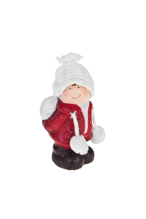 Фигурка Малышка в шапочкеФигурки<br>Выс=12см, керам., текстиль, бело-красно-черное (2 вида)<br>