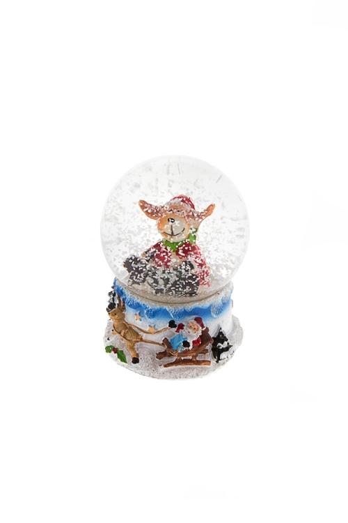 Шар со снегом Счастливый лосикНовогодние сувениры<br>Выс=6.5см, полирезин, стекло, с жидкостью<br>