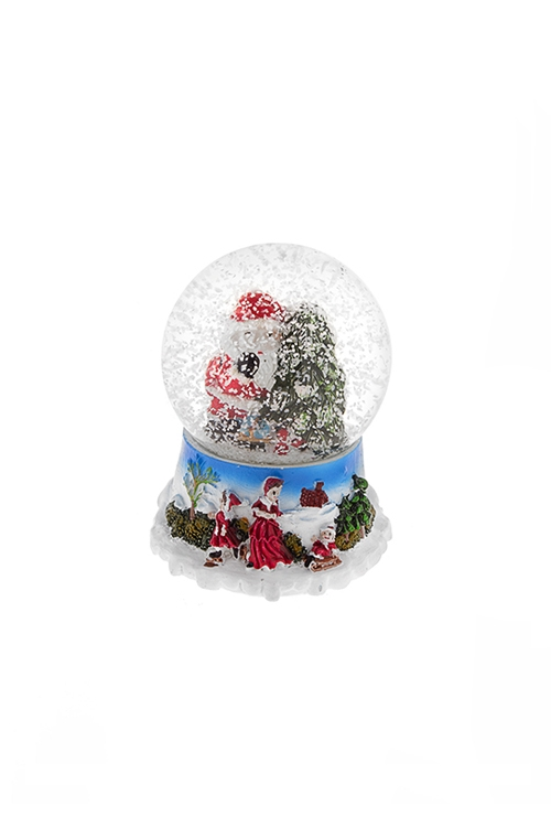 Шар со снегом Дед Мороз с подарками у елочкиНовогодние сувениры<br>Выс=6.5см, полирезин, стекло, с жидк.<br>