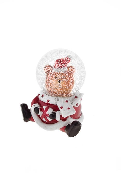 Шар со снегом Мишутка с конфетойНовогодние сувениры<br>Выс=7см, полирезин, стекло, красно-коричн.-белое, с жидк<br>