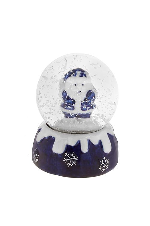 Шар со снегом Дед МорозНовогодние сувениры<br>Выс=9см, керам., стекло, бело-синее, с жидк.<br>
