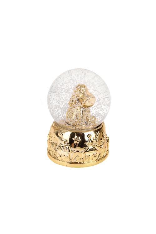 Шар со снегом Песик- счастливый носикНовогодние сувениры<br>Выс=6.5см, полирезин, стекло, золот., с жидк.<br>