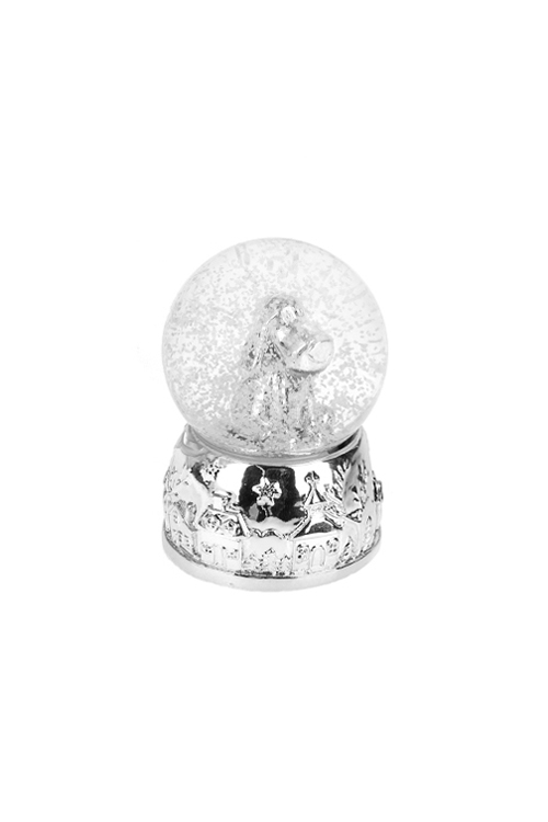 Шар со снегом Песик- счастливый носикНовогодние сувениры<br>Выс=6.5см, полирезин, стекло, серебр., с жидк<br>