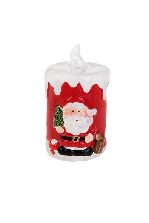 Украшение новогоднее светящееся Волшебная свечаФигурки на Новый Год<br>Выс=11см, керам., красно-белое (2 вида), на батар.<br>
