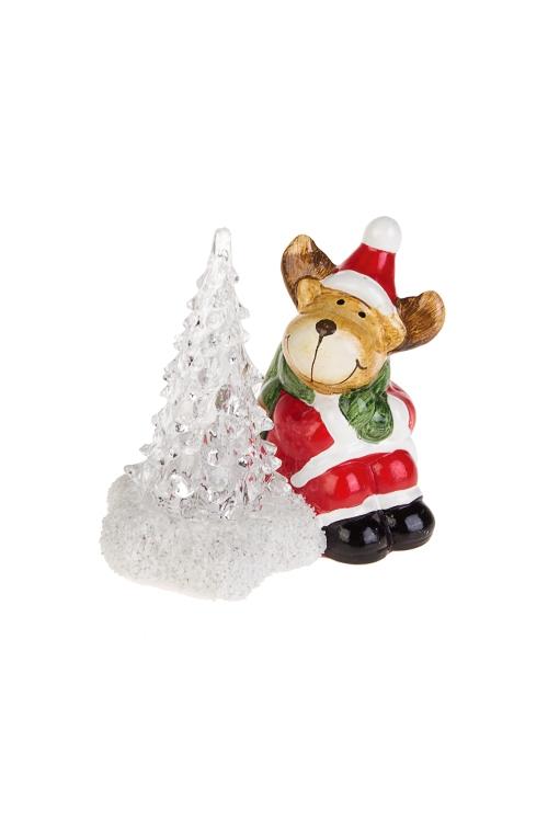 Украшение новогоднее светящееся Лосик у елочкиНовогодние сувениры<br>10*6*9см, керам., акрил, коричн.-красно-зеленое, на батар.<br>