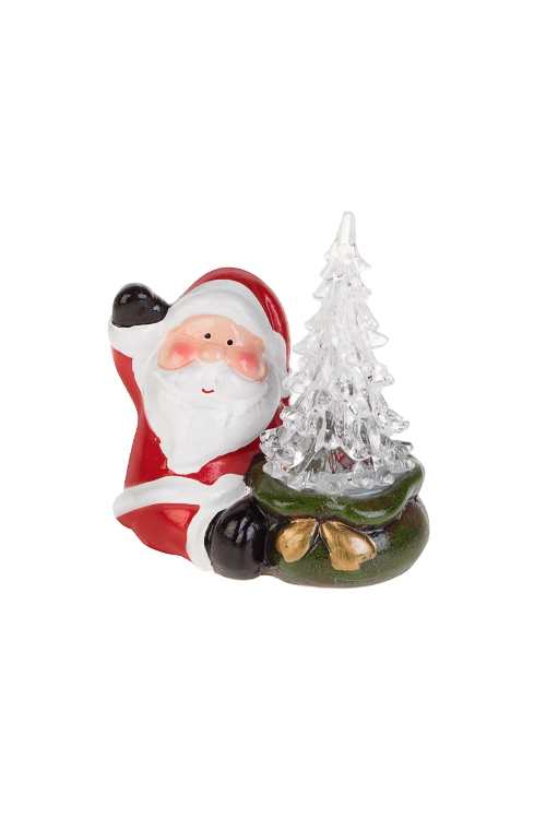 Украшение новогоднее светящееся Дед Мороз с елочкойРождественские украшения<br>10*6*11см, керам., акрил, бело-красно-зел., на батар.<br>