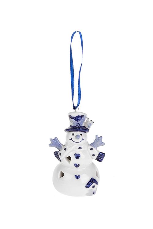 Украшение новогоднее светящееся СнеговикПодарки на Новый год 2018<br>Выс=8см, керам., бело-синее, подвес. (2 вида), на батар.<br>
