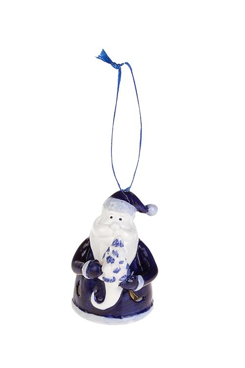 Украшение новогоднее светящееся Дед МорозЕлочные игрушки<br>Выс=7.5см, керам., бело-синее, подвес. (2 вида), на батар.<br>