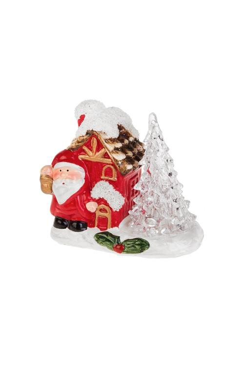 Украшение новогоднее светящееся Дед Мороз с фонарикомРождественские украшения<br>10*6*9см, керам., акрил, бело-красно-зел., на батар.<br>