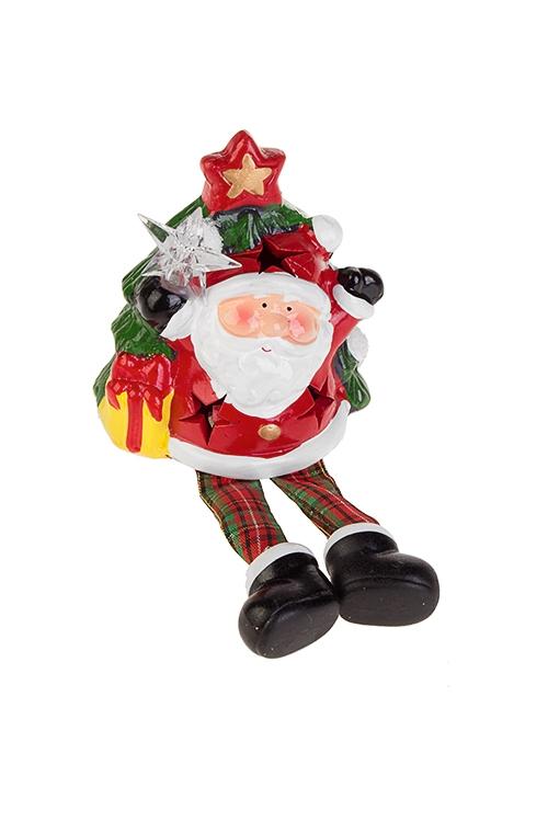 Украшение новогоднее светящееся Дед Мороз у елкиНовогодние сувениры<br>9*5*10см, керам., красно-бело-зеленое, на батар.<br>