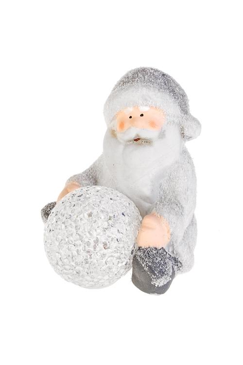 Украшение новогоднее светящееся Дед Мороз лепит снеговикаФигурки на Новый Год<br>11*10*11.5см, керам., бело-серебр., на батар.<br>