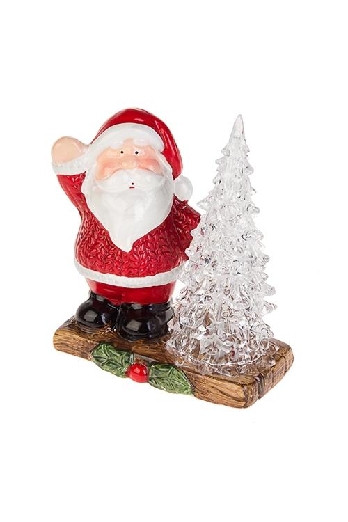 Украшение новогоднее светящееся Дед Мороз в свитереНовогодние сувениры<br>12*6*13.5см, керам., акрил, бело-красно-черн, на батар<br>