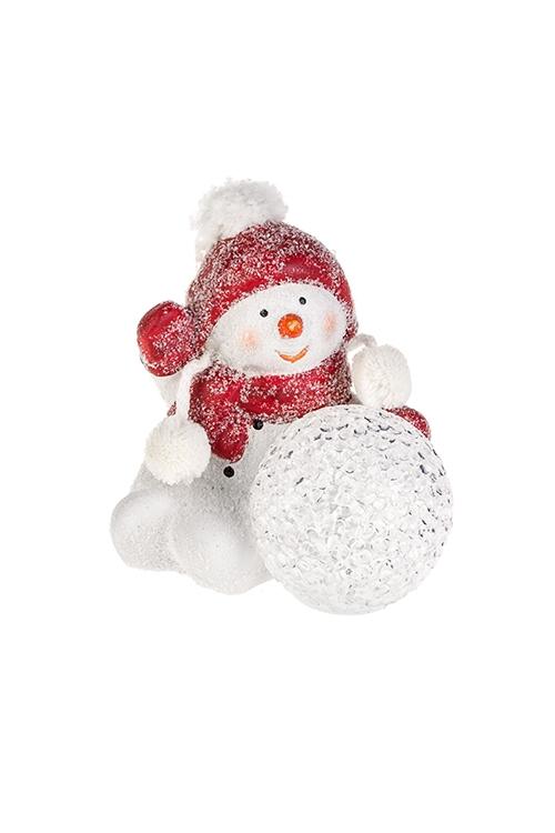 Украшение новогоднее светящееся СнеговикФигурки на Новый Год<br>10*8*11см, керам., пластм., бело-красное, на батар.<br>