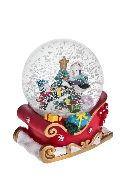 Шар со снегом Пингвины на елочкеНовогодние сувениры<br>8*7*9см, полирезин, стекло<br>