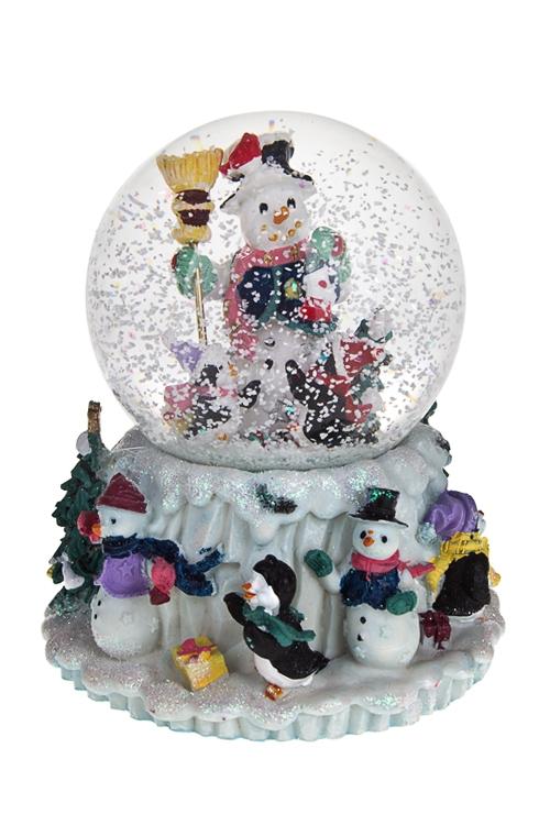 Украшение новогоднее музыкальное Шар - Снеговик и пингвиныНовогодние сувениры<br>10*13см, полирезин, стекло<br>
