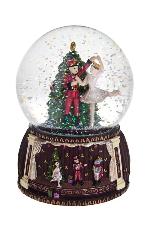 Шар со снегом музыкальный Щелкунчик и МариНовогодние сувениры<br>11*14см, полирезин, стекло<br>