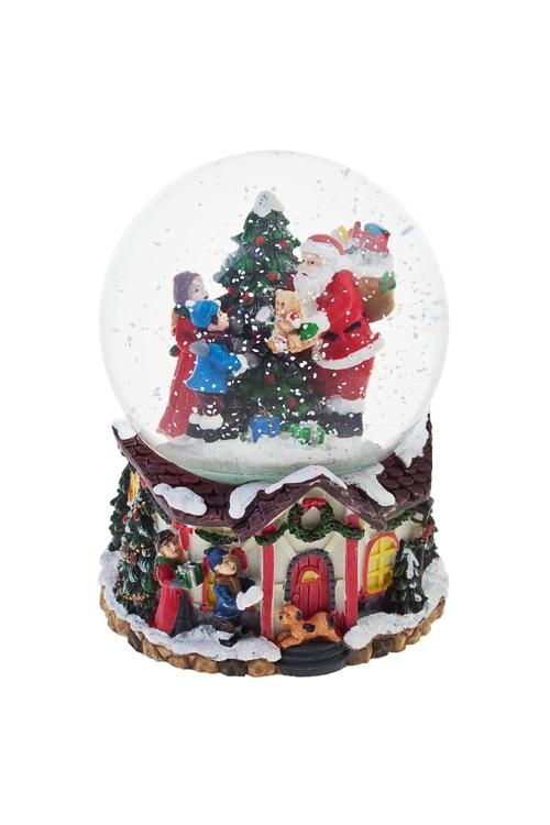 Украшение новогоднее музыкальное Шар - Время вручения подарковНовогодние сувениры<br>Выс=14см, полирезин, стекло<br>