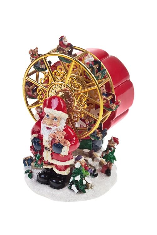 Украшение новогоднее музыкальное и двигающееся Дед Мороз и сказочная карусельФигурки на Новый Год<br>11*14см, полирезин<br>