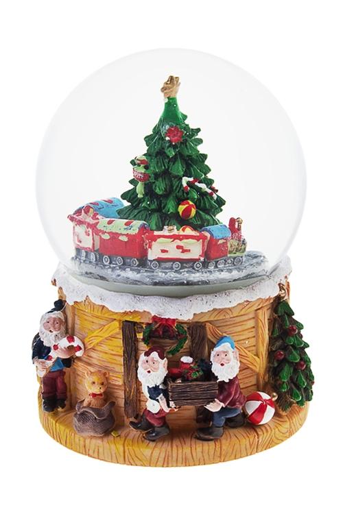 Украшение новогоднее музыкальное и двигающееся Шар - Мастерская Деда МорозаШары со снегом<br>15*16см, полирезин, стекло<br>