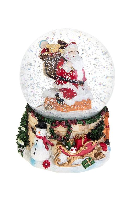 Шар со снегом музыкальный Дед Мороз на крыше с подаркамиНовогодние сувениры<br>10*15см, полирезин, стекло, с жидк, механ<br>