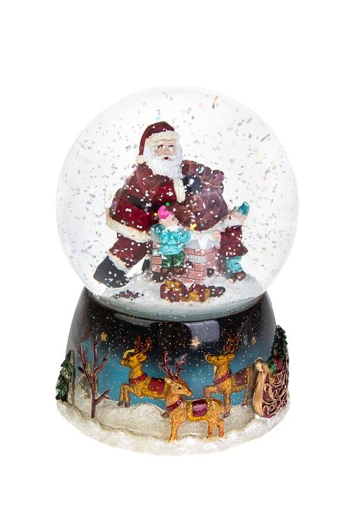 Шар со снегом музыкальный Санта-Клаус с эльфамиШары со снегом<br>12*15см, полирезин, стекло, с жидк., механич<br>