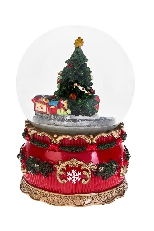 Украшение новогоднее музыкальное и двигающееся Шар - Подарки на Новый годНовогодние сувениры<br>10*15см, полирезин, стекло, с жидк., механ<br>