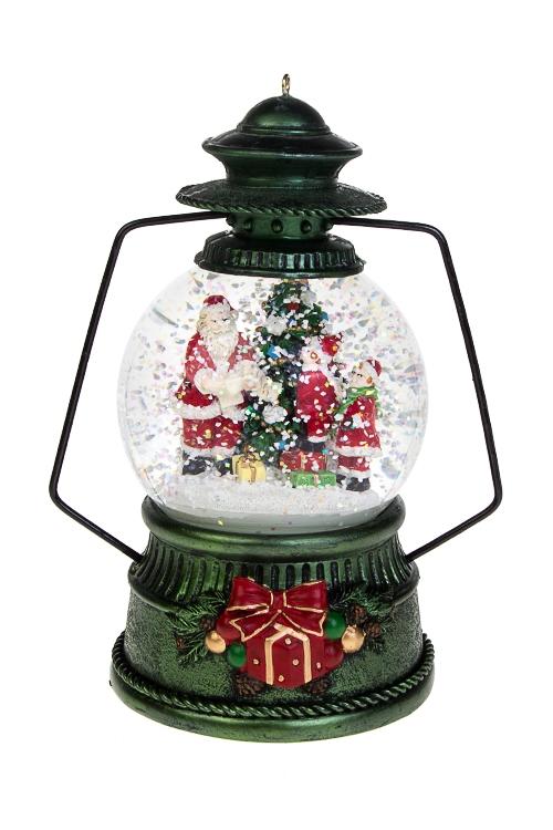 Украшение новогоднее музыкальное и двигающееся Шар - Подарки от Деда МорозаШары со снегом<br>13*20см, полирезин, стекло, с жидк, механ<br>