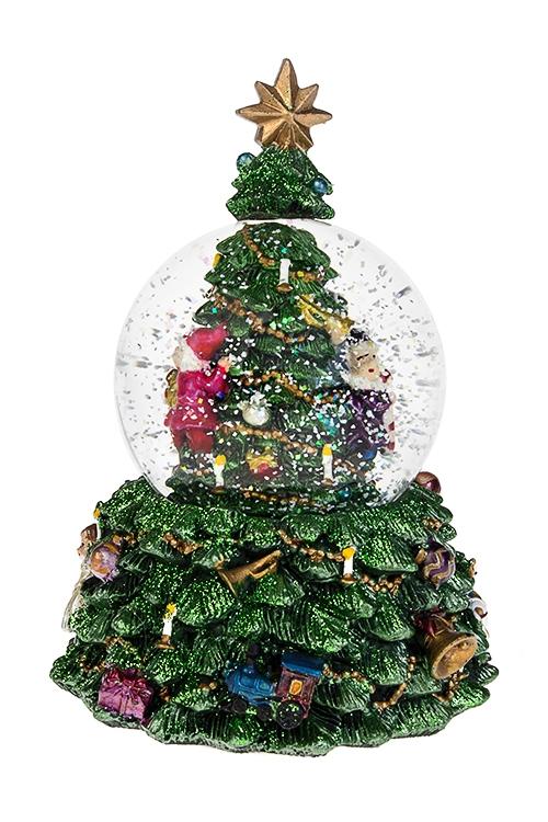 Украшение новогоднее музыкальное и двигающееся Шар - Праздничная елкаНовогодние сувениры<br>11*17см, полирезин, стекло, с жидк., механич<br>