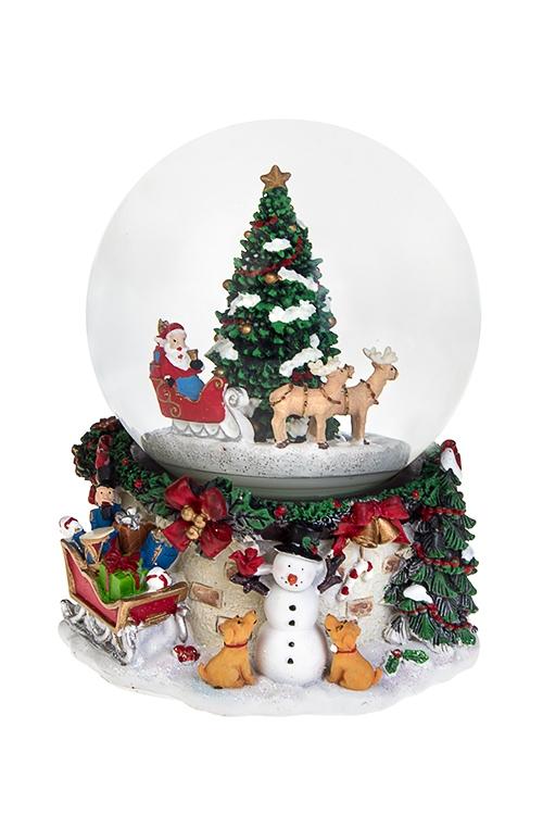 Украшение новогоднее музыкальное и двигающееся Шар - Время подарковШары со снегом<br>14*18см, полирезин, стекло, с жидк., механич.<br>