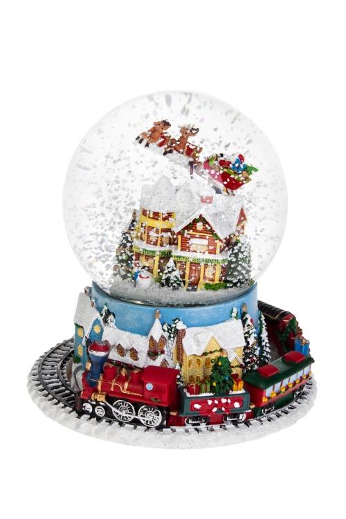 Украшение новогоднее музыкальное и двигающееся Шар - Дед Мороз над городомНовогодние сувениры<br>16*19см, полирезин, стекло, с жидк., с мет<br>