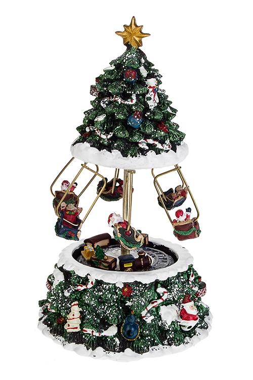 Украшение новогоднее музыкальное и двигающееся Веселая карусельРождественские украшения<br>12*21см, полирезин, механич.<br>