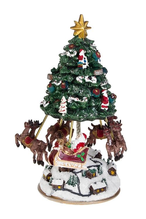 Украшение новогоднее музыкальное и двигающееся Оленья упряжка Деда Мороза над городомРождественские украшения<br>14*23см, полирезин, механич.<br>