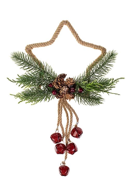 Украшение новогоднее Новогодняя подвескаРождественские украшения<br>Выс=38см, натур. матер., пластм., металл, подвес. (2 вида)<br>