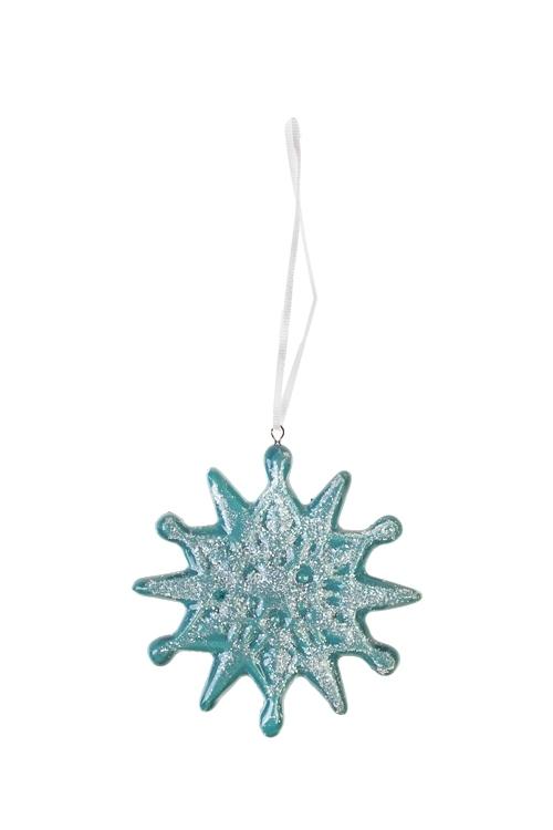 Украшение новогоднее СнежинкаПодарки<br>Выс=8см, керам., бирюз., подвесное (2 вида)<br>