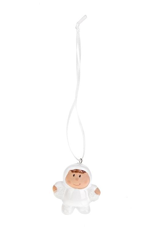 Сувенир новогодний Малютка со снежкомЕлочные игрушки<br>Выс=5см, керам. белый, подвесной (4 вида)<br>