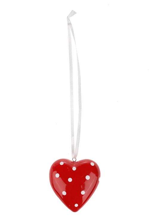 Украшение декоративное Сердце в горошекЕлочные игрушки<br>Выс=5см, керам. красно-белое, подвесное<br>