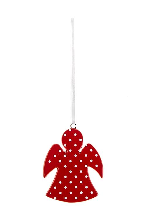 Украшение декоративное Ангелочек в горошекЕлочные игрушки<br>Выс=6.5см, керам. красно-белое, подвесное<br>