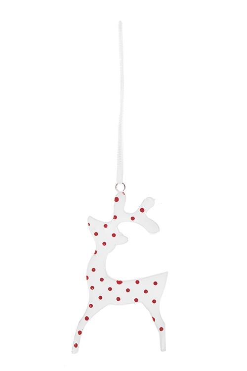 Украшение декоративное Олененок в горошекПодарки на Новый год 2018<br>9.5*5см, керам. красно-белое, подвесное (2 вида)<br>