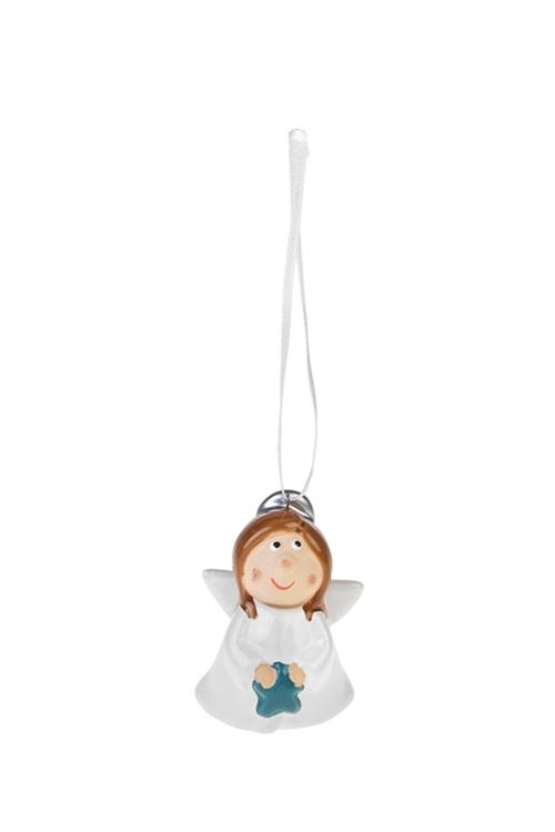 Украшение декоративное Милый ангелокСувениры и упаковка<br>Выс=6.5см, керам., белое, подвесное (2 вида)<br>